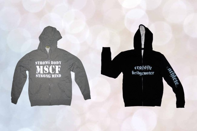 over the zipper screen printed sweatshirts for crossfit gyms