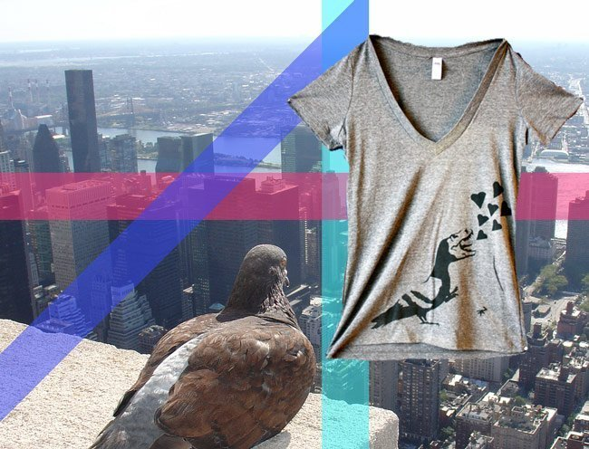 Pigeon Rex waterbased screen printed t-shirt new york city zoom