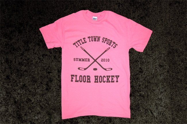 Custom athletic screen printed t-shirts for Title Town Sports in Newton, MA pink