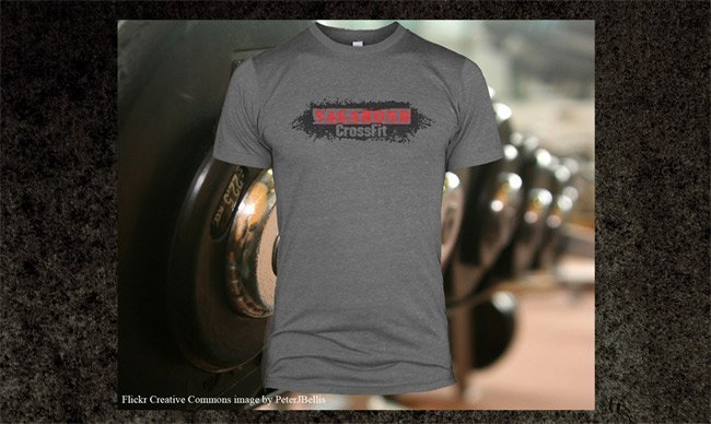 Screen printed american apparel tr401 triblend t-shirt for CrossFit Vagabond Easton MA grey