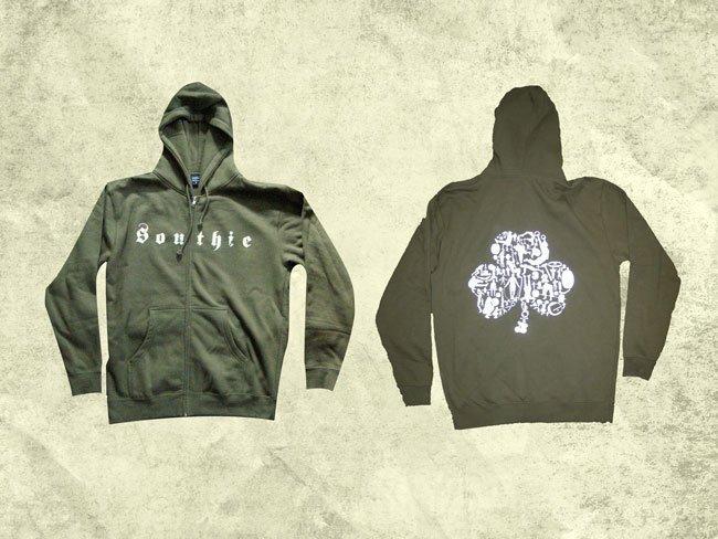 crossfit southie heavyweight zip up screen printed sweatshirt