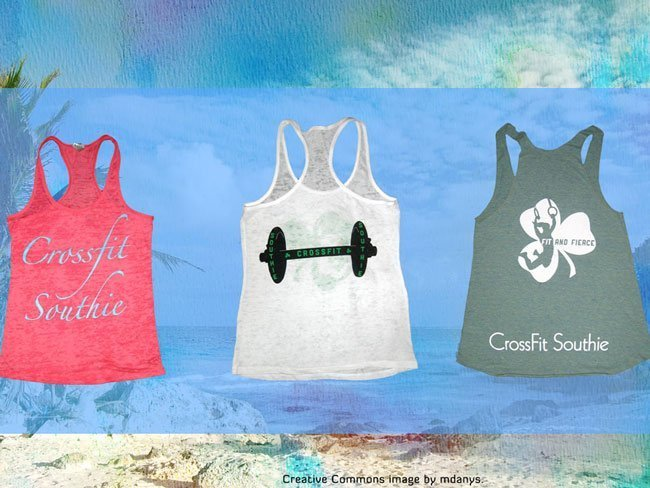 crossfit southie screen printed american apparel triblend and burnout racerback tanks