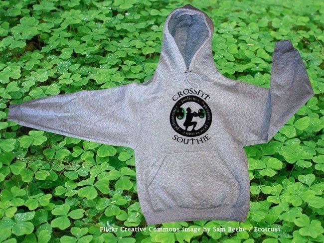 crossfit southie screen printed heavyweight hooded sweatshirt