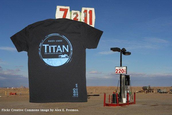 titan gas screen printed vintage t-shirt ringspun combed cotton