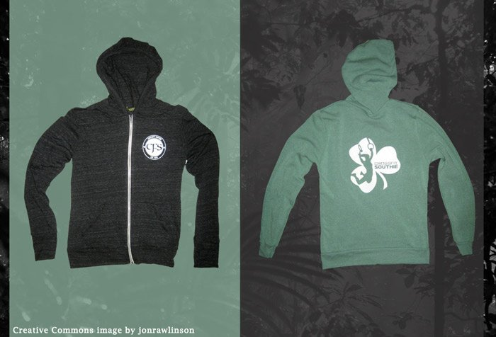 a complete apparel line with increased profits from repeating screen printed designs alternative eco fleece zip hoodie