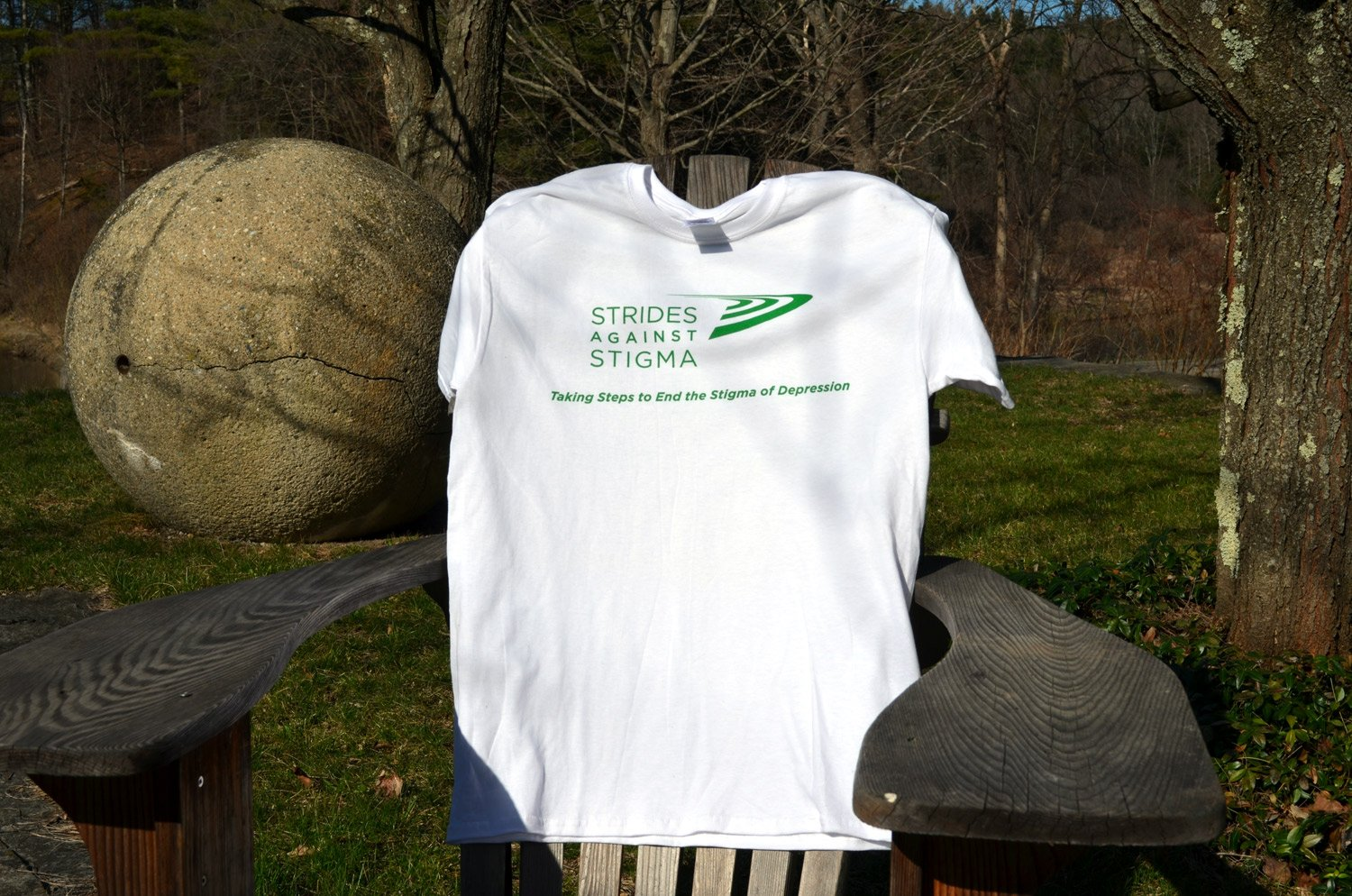 Front of custom screen printed tees for strides against stigma event in Boston