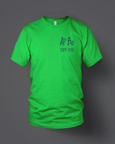 AP Biology custom screen printed t-shirt front
