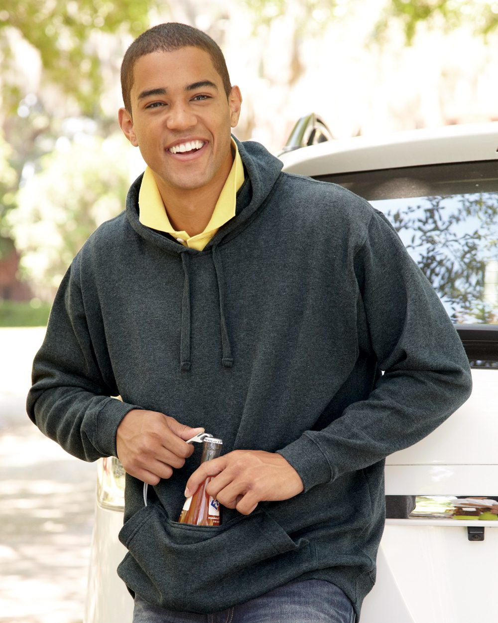 hoody with built-in beverage holder for custom tailgate hoody