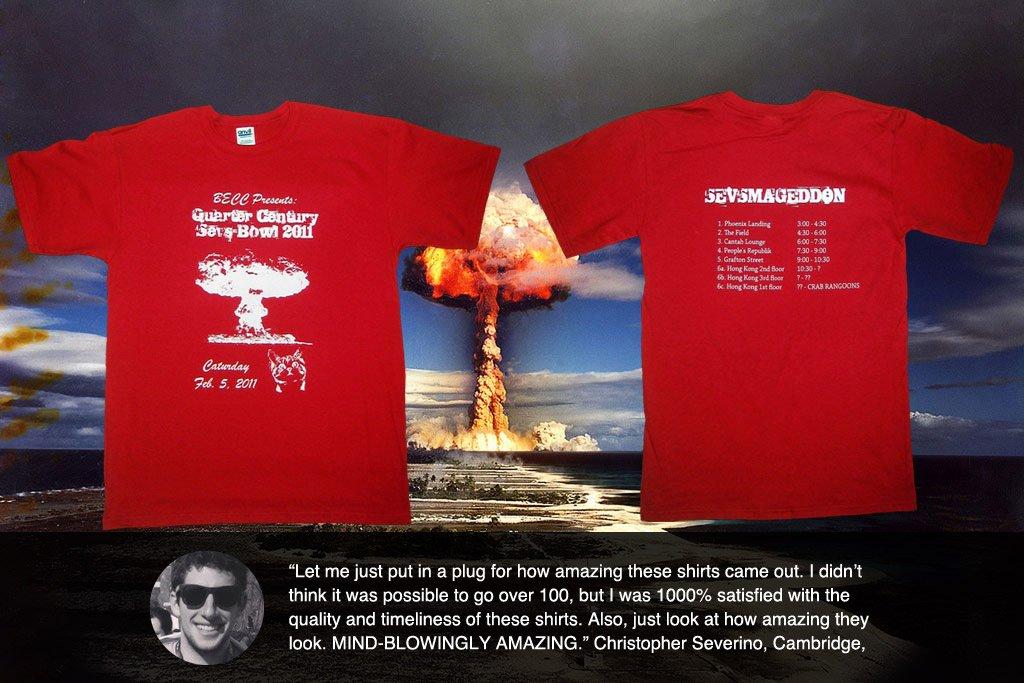 sevsmaggedon-custom screen printed pub crawl t-shirt