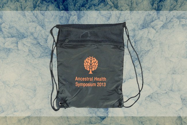 ancestral health symposium screen printed premium cynch sack