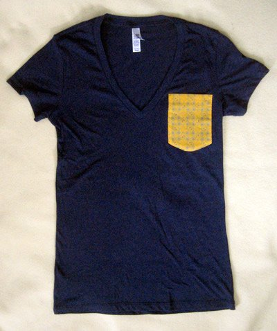 custom sewn custom designed pocket t-shirts