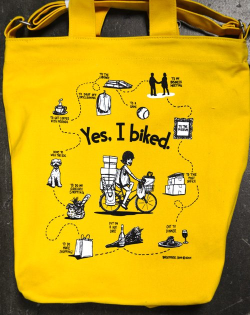bikeyface screen printed line art tote yellow