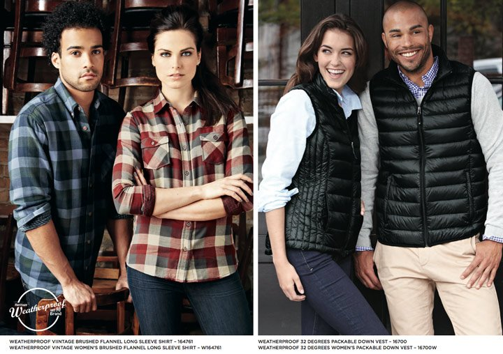 weatherproof plaid shirts and packable down vests